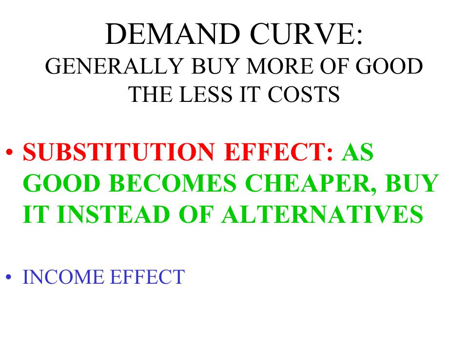 DEMAND CURVE: GENERALLY BUY MORE OF GOOD THE LESS IT COSTS SUBSTITUTION EFFECT INCOME EFFECT: AS GOOD BECOMES CHEAPER, PURCHASING POWER INCREASES, SO BUY MORE
