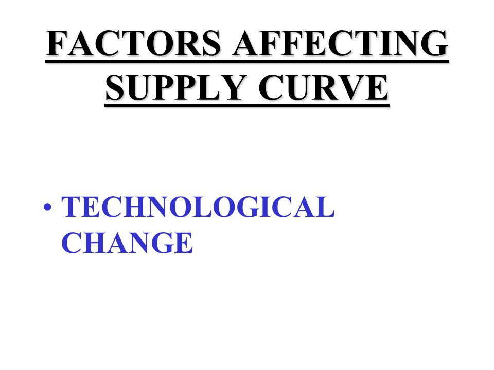 FACTORS AFFECTING SUPPLY CURVE TECHNOLOGICAL CHANGE INPUT PRICES
