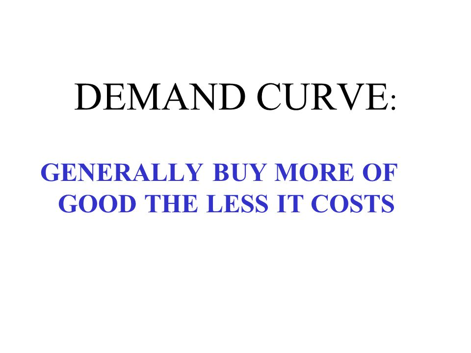 DEMAND CURVE: GENERALLY BUY MORE OF GOOD THE LESS IT COSTS SUBSTITUTION EFFECT INCOME EFFECT