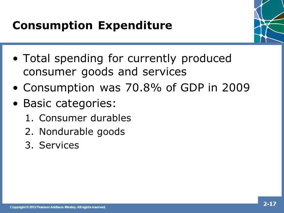 Copyright © 2012 Pearson Addison-Wesley. All rights reserved. 2-17 Consumption Expenditure Total spending for currently produced consumer goods and se