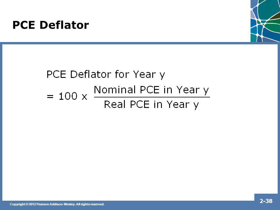 Copyright © 2012 Pearson Addison-Wesley. All rights reserved. 2-38 PCE Deflator