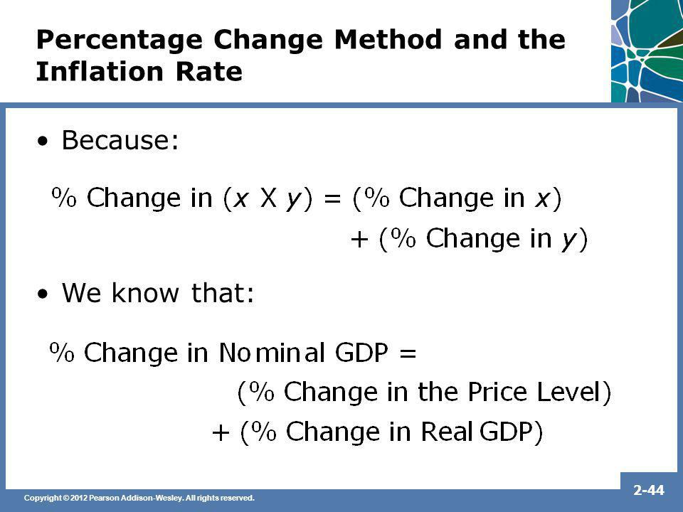 Copyright © 2012 Pearson Addison-Wesley. All rights reserved. 2-44 Percentage Change Method and the Inflation Rate Because: We know that: