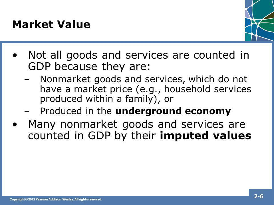 Copyright © 2012 Pearson Addison-Wesley. All rights reserved. 2-6 Market Value Not all goods and services are counted in GDP because they are: –Nonmar