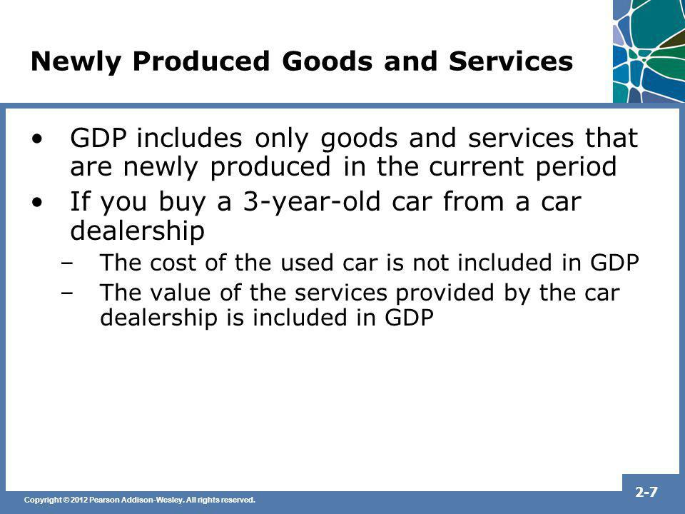 Copyright © 2012 Pearson Addison-Wesley. All rights reserved. 2-7 Newly Produced Goods and Services GDP includes only goods and services that are newl
