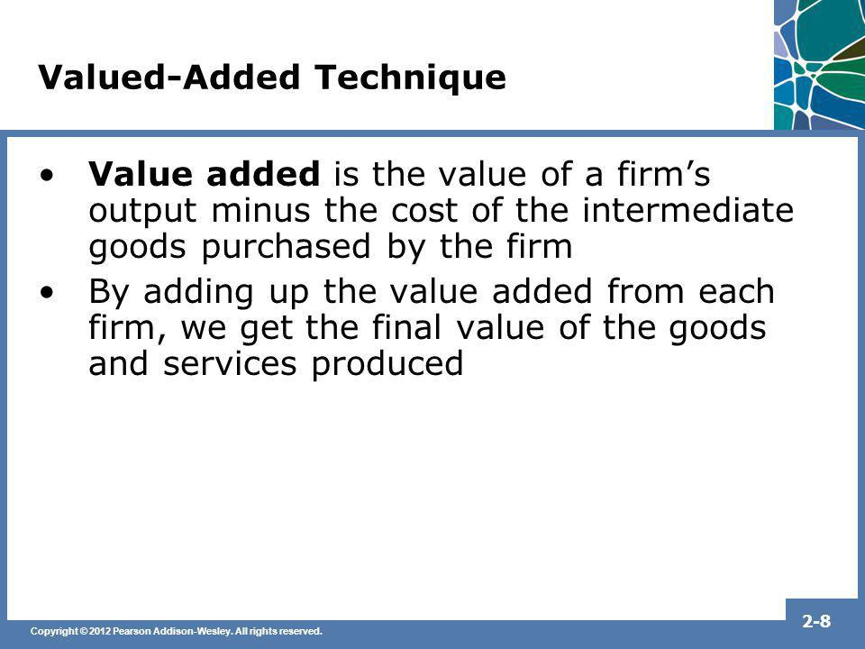 Copyright © 2012 Pearson Addison-Wesley. All rights reserved. 2-8 Valued-Added Technique Value added is the value of a firms output minus the cost of