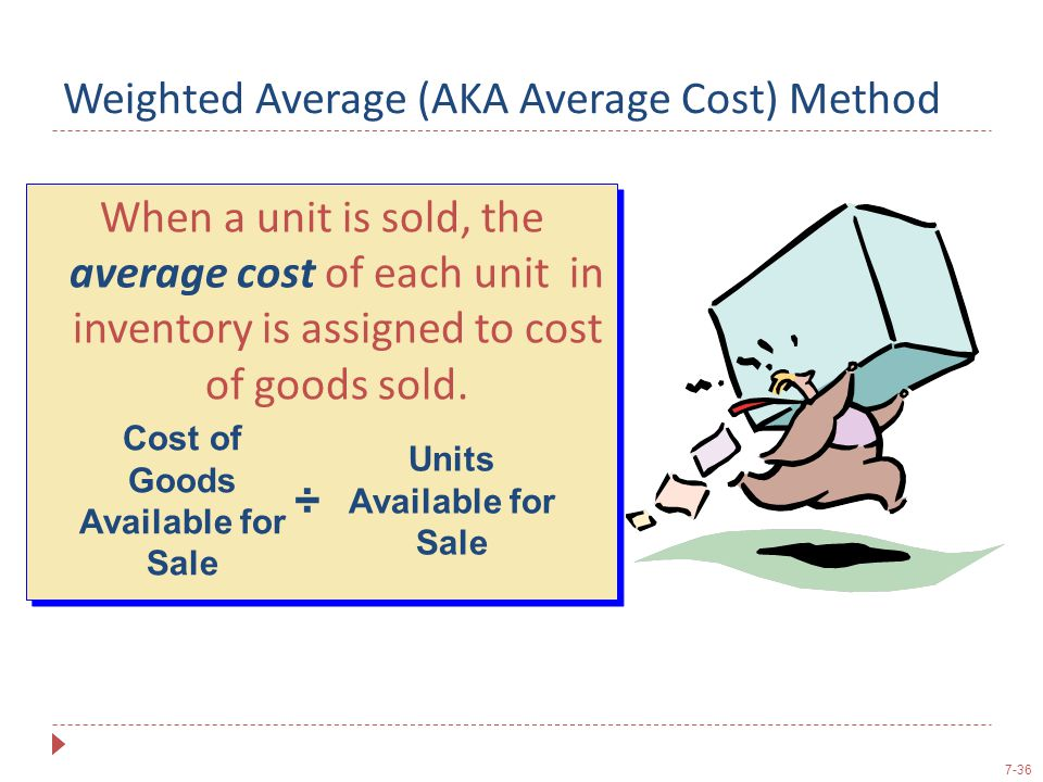 7-36 Weighted Average (AKA Average Cost) Method When a unit is sold, the average cost of each unit in inventory is assigned to cost of goods sold. Cos