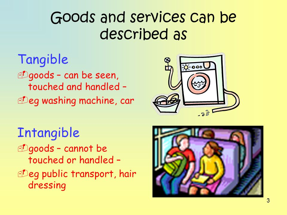 4 Goods and services can be described as Durable goods and services – long lasting – eg clothes, education Non-durable goods and services – used up quickly – eg sweets, cinema