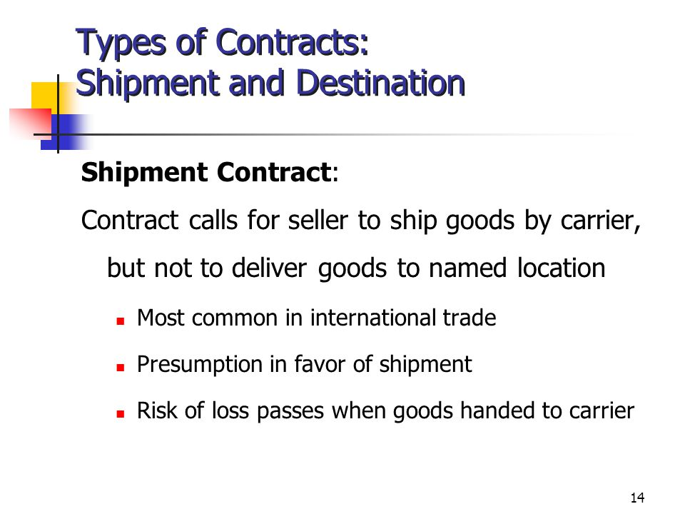 14 Types of Contracts: Shipment and Destination Shipment Contract: Contract calls for seller to ship goods by carrier, but not to deliver goods to named location Most common in international trade Presumption in favor of shipment Risk of loss passes when goods handed to carrier