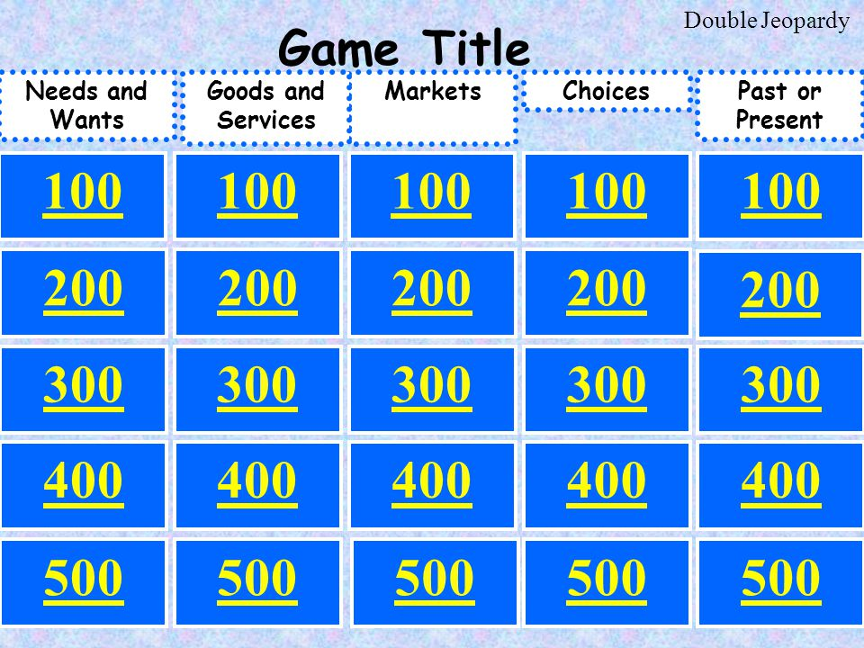 500 100 200 300 100 300 200 300 200 100 200 500 300 100 400 Past or Present Needs and Wants ChoicesMarketsGoods and Services 200 Game Title Double Jeopardy