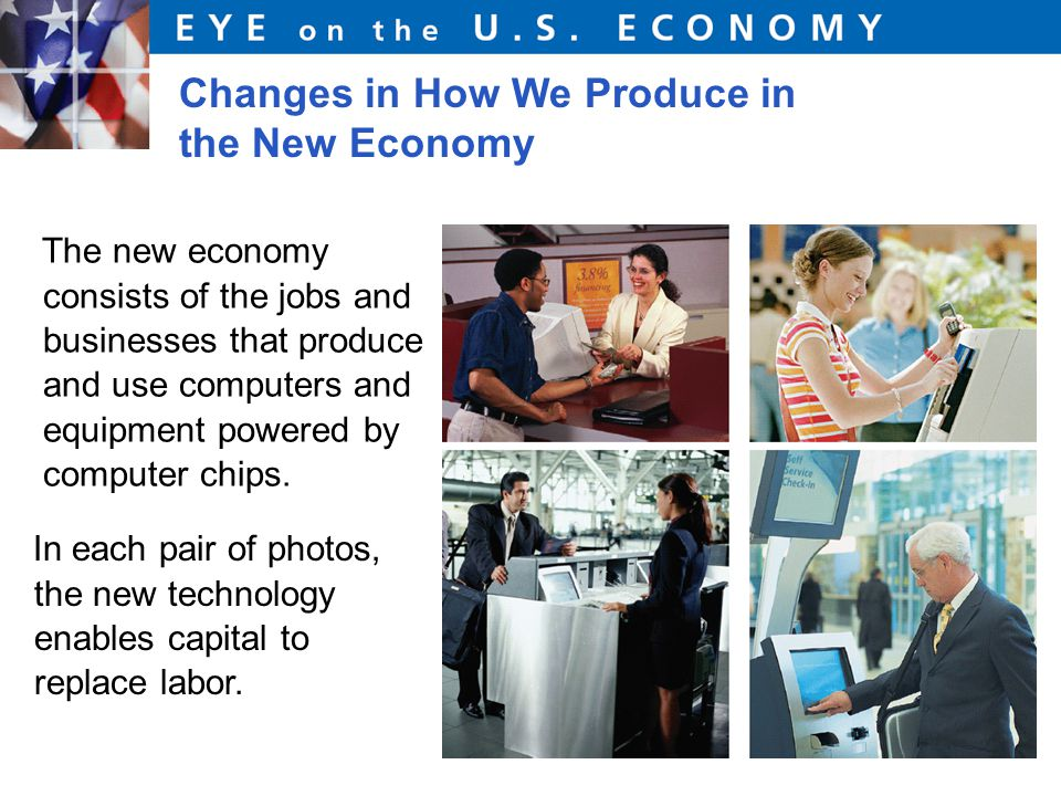 Changes in How We Produce in the New Economy The new economy consists of the jobs and businesses that produce and use computers and equipment powered by computer chips.