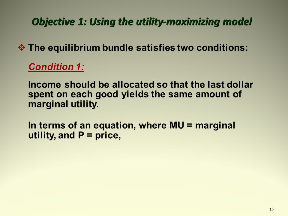 15 The equilibrium bundle satisfies two conditions: Condition 1: Income should be allocated so that the last dollar spent on each good yields the same amount of marginal utility.