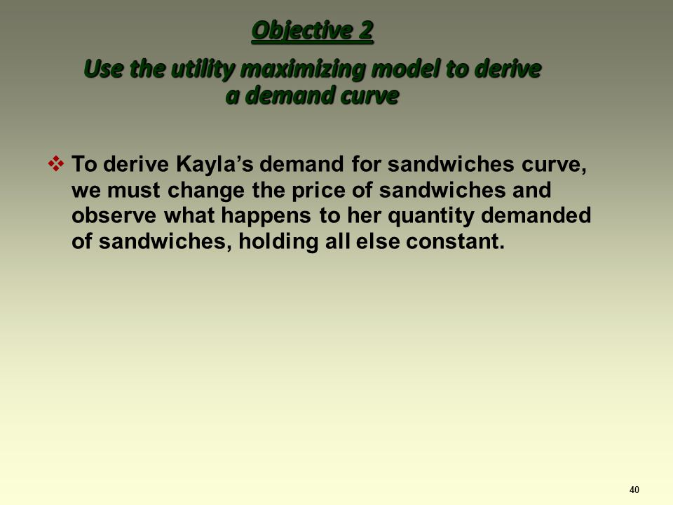40 To derive Kaylas demand for sandwiches curve, we must change the price of sandwiches and observe what happens to her quantity demanded of sandwiches, holding all else constant.