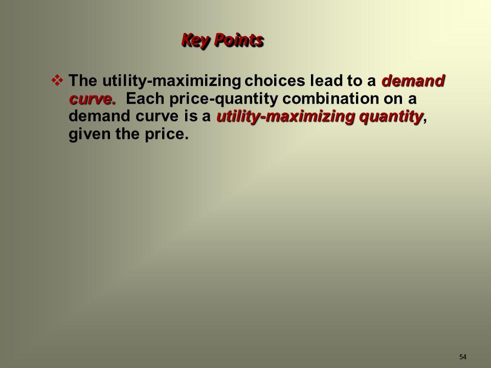 54 demand curve. utility-maximizing quantity The utility-maximizing choices lead to a demand curve.