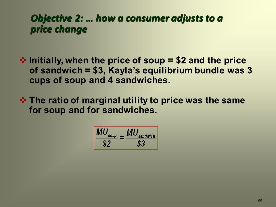 59 Initially, when the price of soup = $2 and the price of sandwich = $3, Kaylas equilibrium bundle was 3 cups of soup and 4 sandwiches.