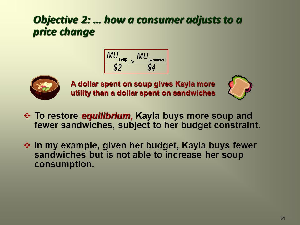 64 equilibrium, To restore equilibrium, Kayla buys more soup and fewer sandwiches, subject to her budget constraint.