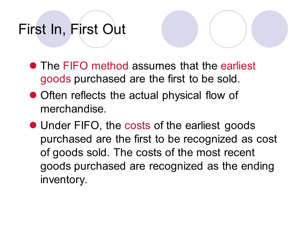 The FIFO method assumes that the earliest goods purchased are the first to be sold.