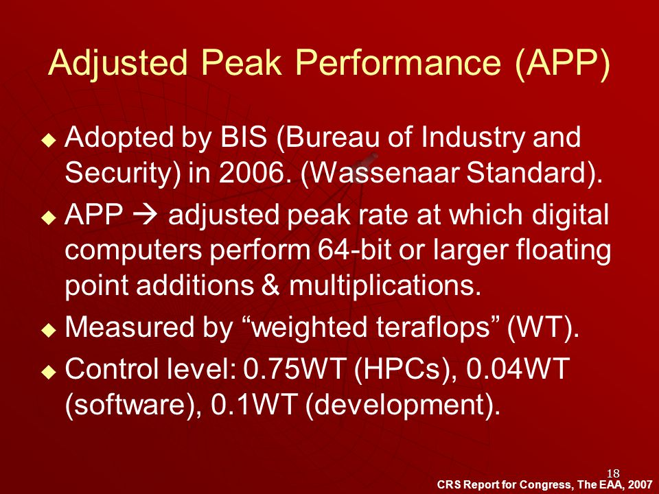 18 Adjusted Peak Performance (APP) Adopted by BIS (Bureau of Industry and Security) in 2006.