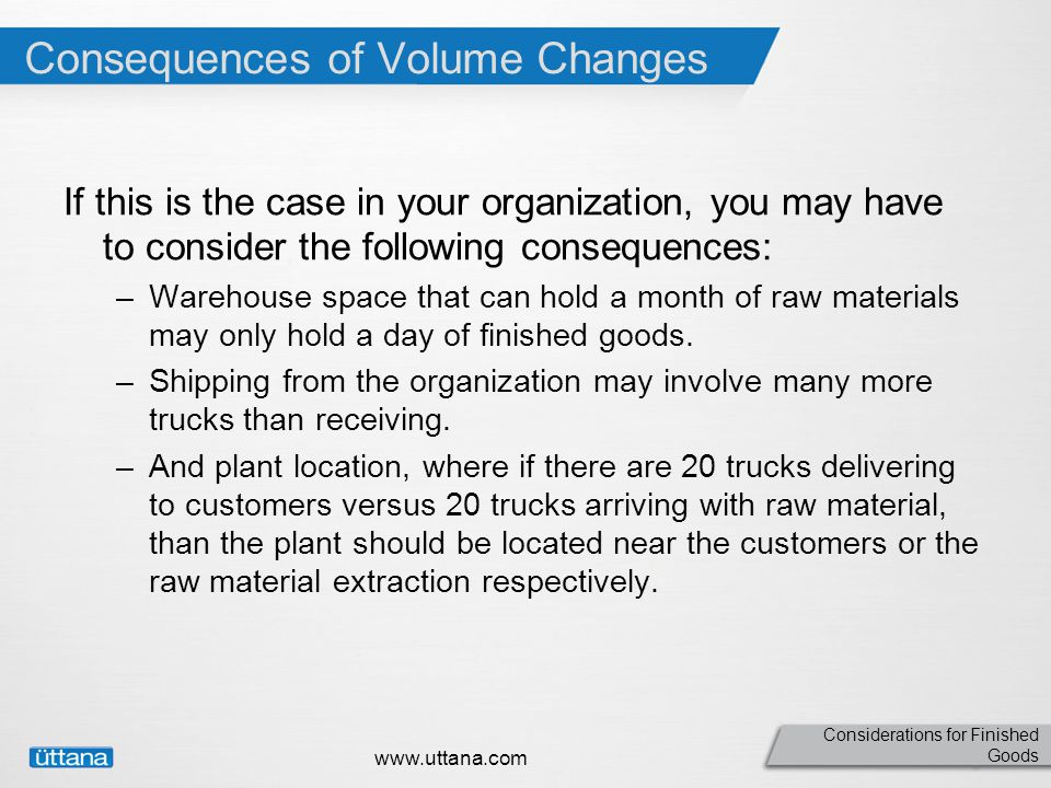 Considerations for Finished Goods Consequences of Volume Changes If this is the case in your organization, you may have to consider the following consequences: –Warehouse space that can hold a month of raw materials may only hold a day of finished goods.
