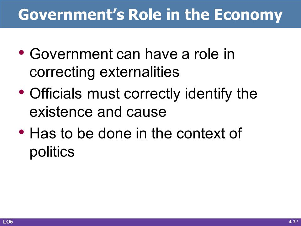 4-27 Governments Role in the Economy Government can have a role in correcting externalities Officials must correctly identify the existence and cause