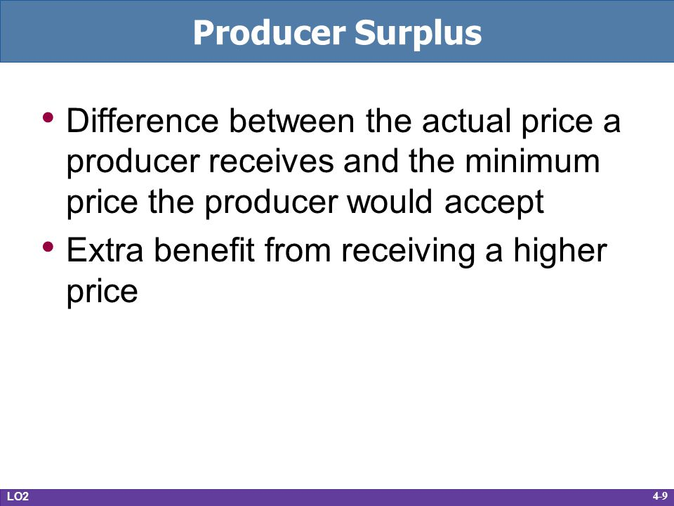 4-9 Producer Surplus Difference between the actual price a producer receives and the minimum price the producer would accept Extra benefit from receiv
