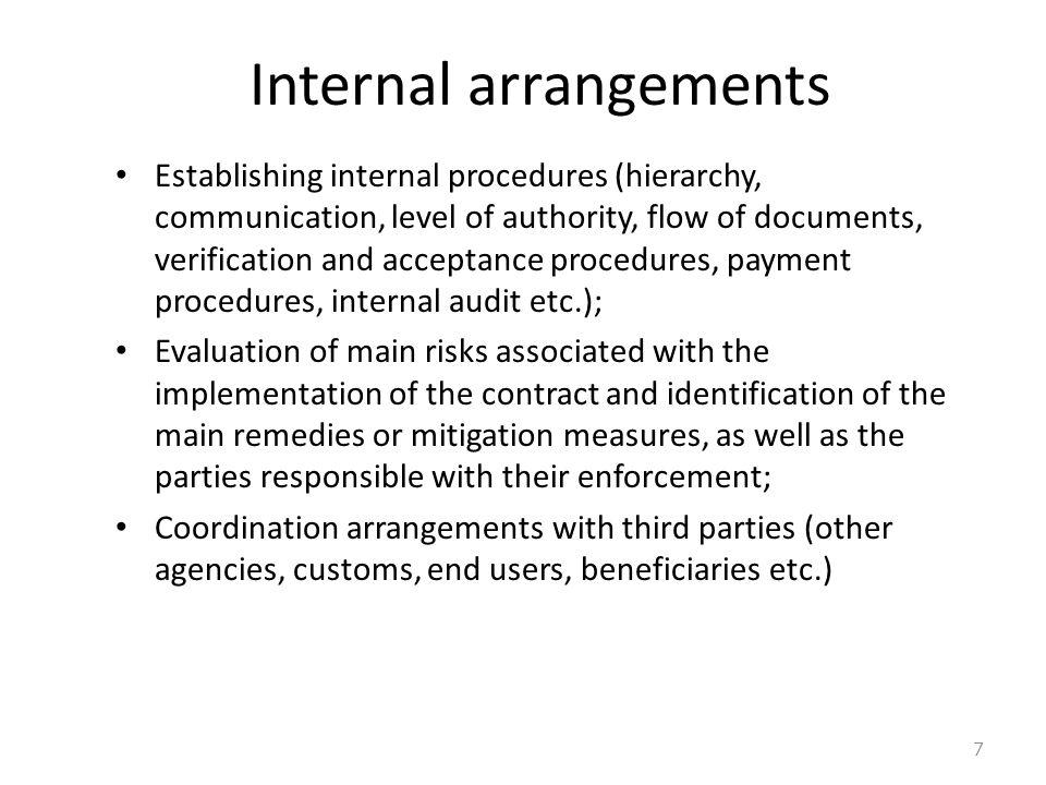 Internal arrangements 7 Establishing internal procedures (hierarchy, communication, level of authority, flow of documents, verification and acceptance