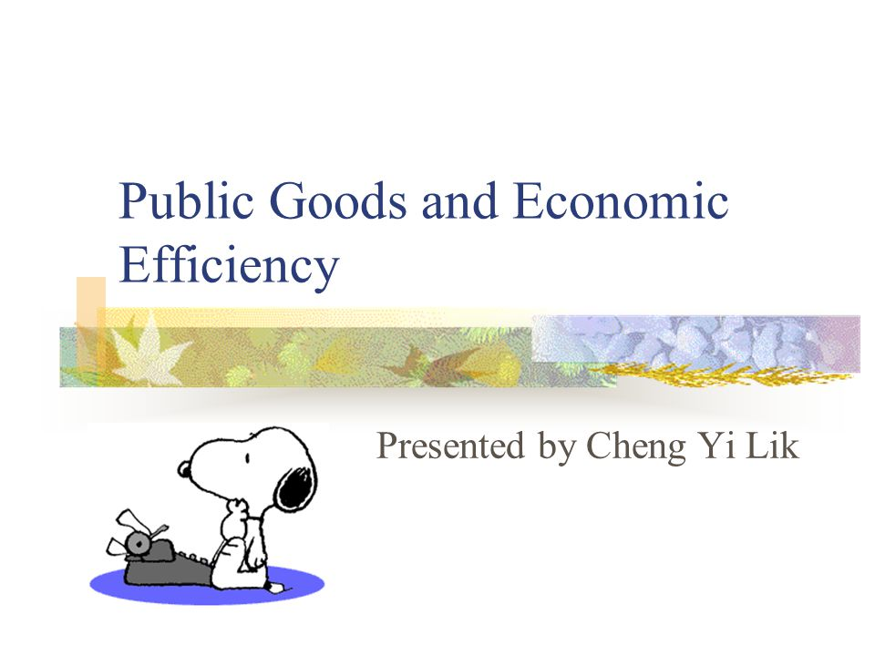 Public Goods and Economic Efficiency Presented by Cheng Yi Lik