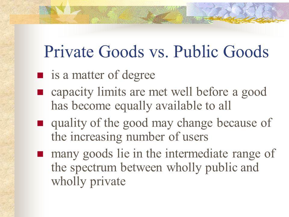 Private Goods vs. Public Goods