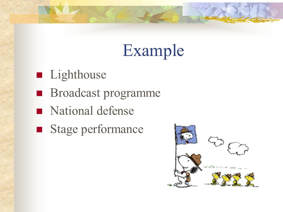 Example Lighthouse Broadcast programme National defense Stage performance