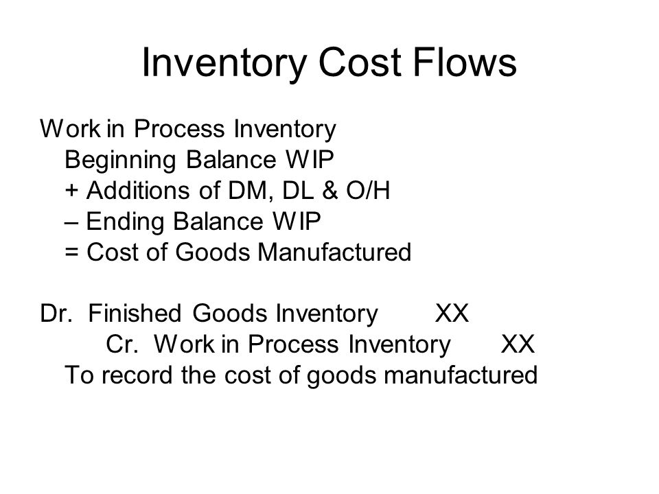 Inventory Cost Flows Work in Process Inventory Beginning Balance WIP + Additions of DM, DL & O/H – Ending Balance WIP = Cost of Goods Manufactured Dr.