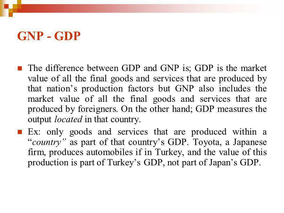 GNP - GDP The difference between GDP and GNP is; GDP is the market value of all the final goods and services that are produced by that nations production factors but GNP also includes the market value of all the final goods and services that are produced by foreigners.