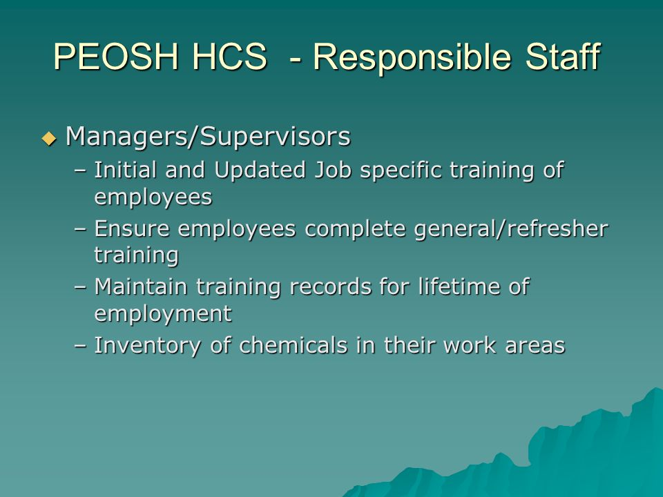 Managers/Supervisors Managers/Supervisors –Initial and Updated Job specific training of employees –Ensure employees complete general/refresher trainin
