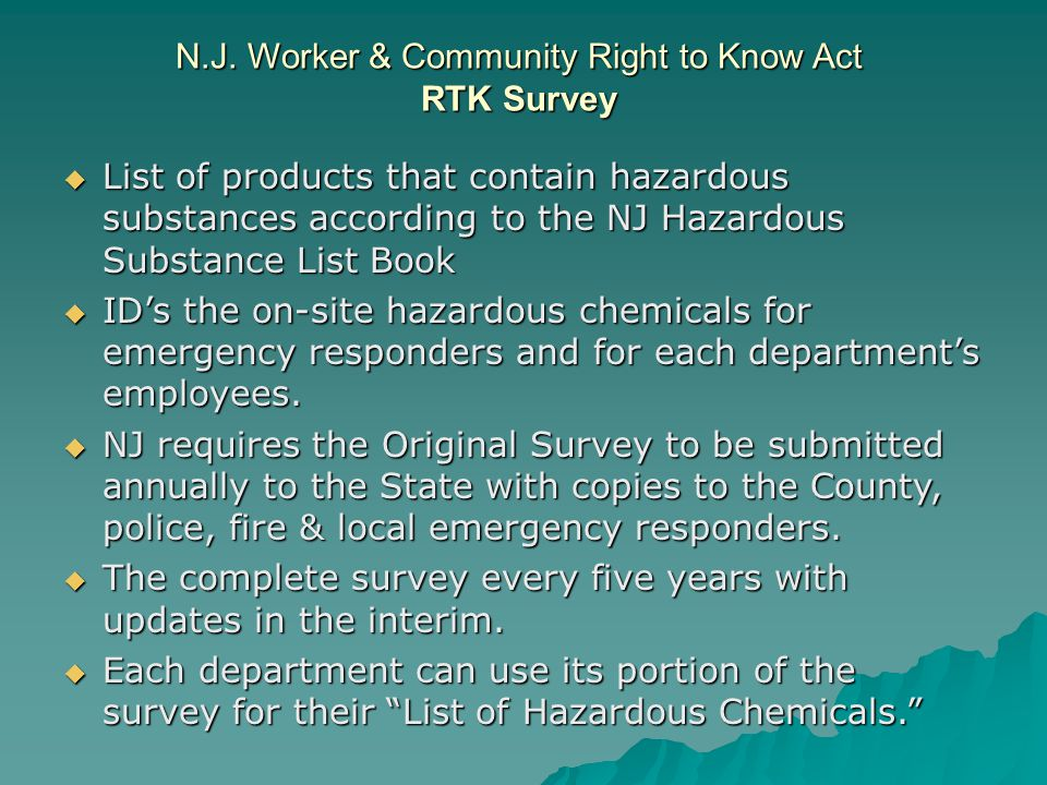 N.J. Worker & Community Right to Know Act RTK Survey List of products that contain hazardous substances according to the NJ Hazardous Substance List B