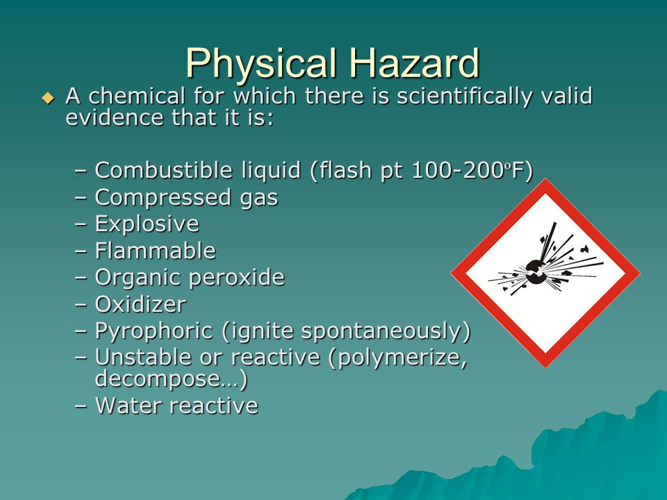 Health Hazard A chemical for which there is statistically significant evidence that acute or chronic health effects may occur in exposed employees A chemical for which there is statistically significant evidence that acute or chronic health effects may occur in exposed employees –Carcinogens –Toxic or highly toxic agents –Irritants –Corrosives –Sensitizers (allergic reactions) –Reproductive toxins –Heptatotoxins (liver) –Nephrotoxins (kidney) –Neurotoxins (nervous system) –Act on hemoatopoietic system (blood) –Damage lungs, skin, eyes or mucous membranes