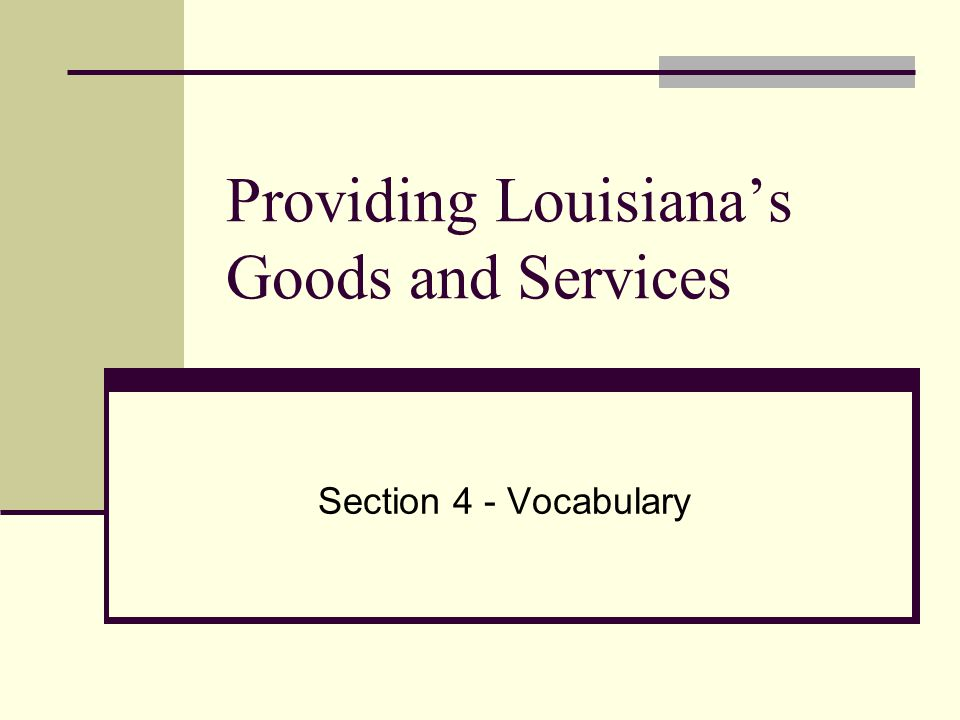 Providing Louisianas Goods and Services Section 4 - Vocabulary