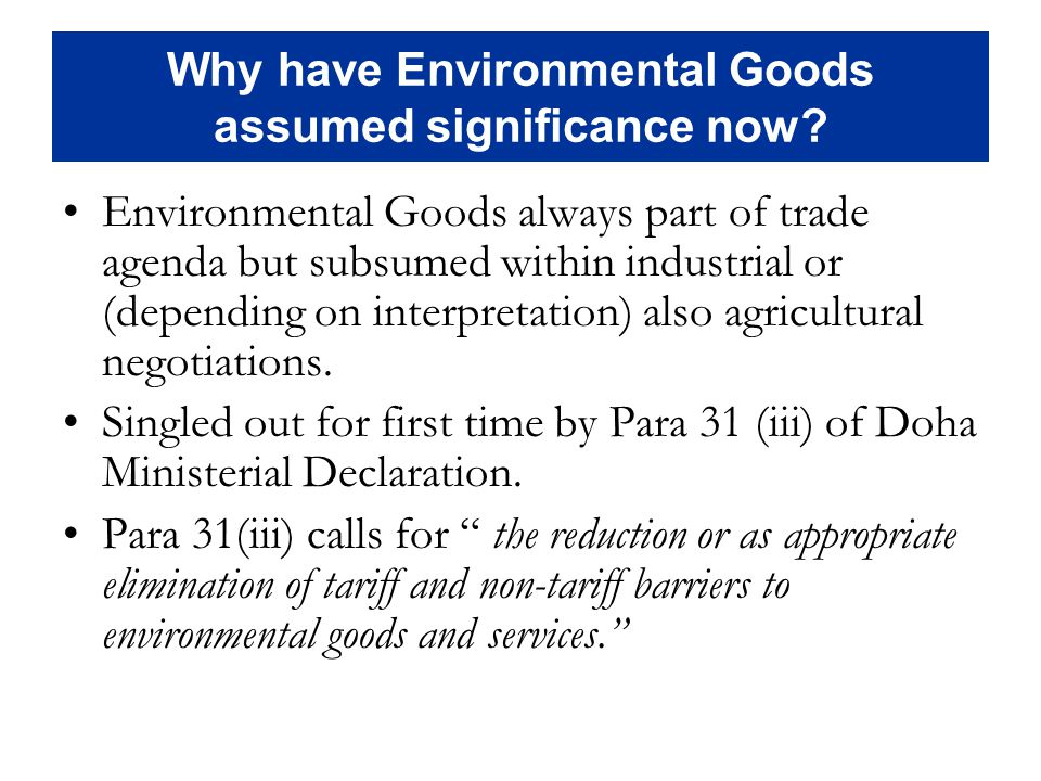 Why have Environmental Goods assumed significance now.