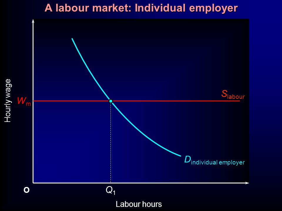 O Labour hours Hourly wage Q1Q1 WmWm S labour D individual employer A labour market: Individual employer