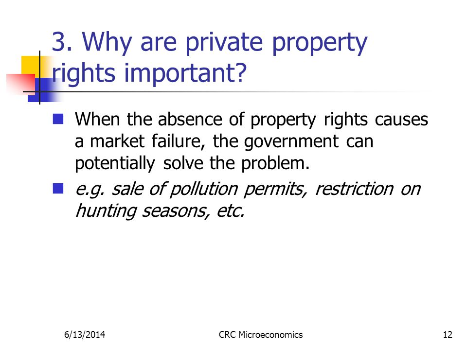 6/13/2014CRC Microeconomics12 3. Why are private property rights important.