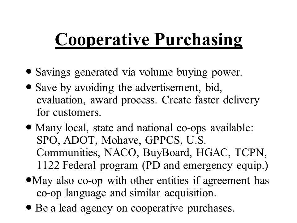 Cooperative Purchasing Savings generated via volume buying power.