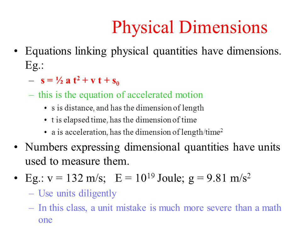 Physical Dimensions Equations linking physical quantities have dimensions.