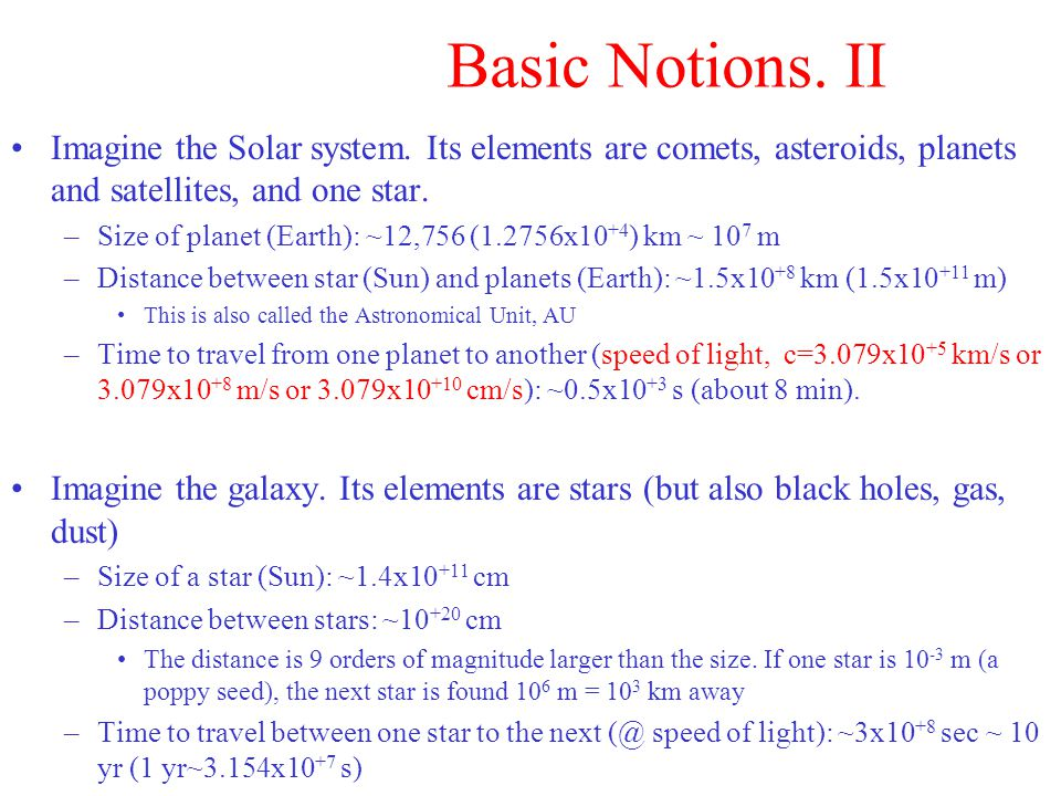 Basic Notions. II Imagine the Solar system.
