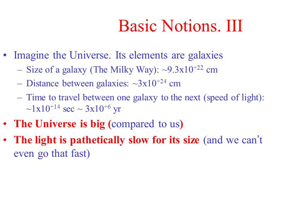 Basic Notions. III Imagine the Universe.