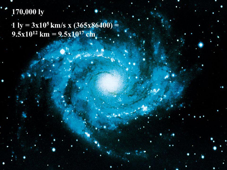 170,000 ly 1 ly = 3x10 5 km/s x (365x86400) = 9.5x10 12 km = 9.5x10 17 cm