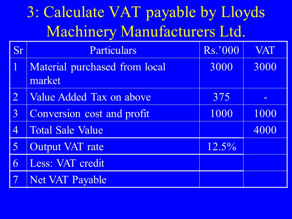 3: Calculate VAT payable by Lloyds Machinery Manufacturers Ltd.