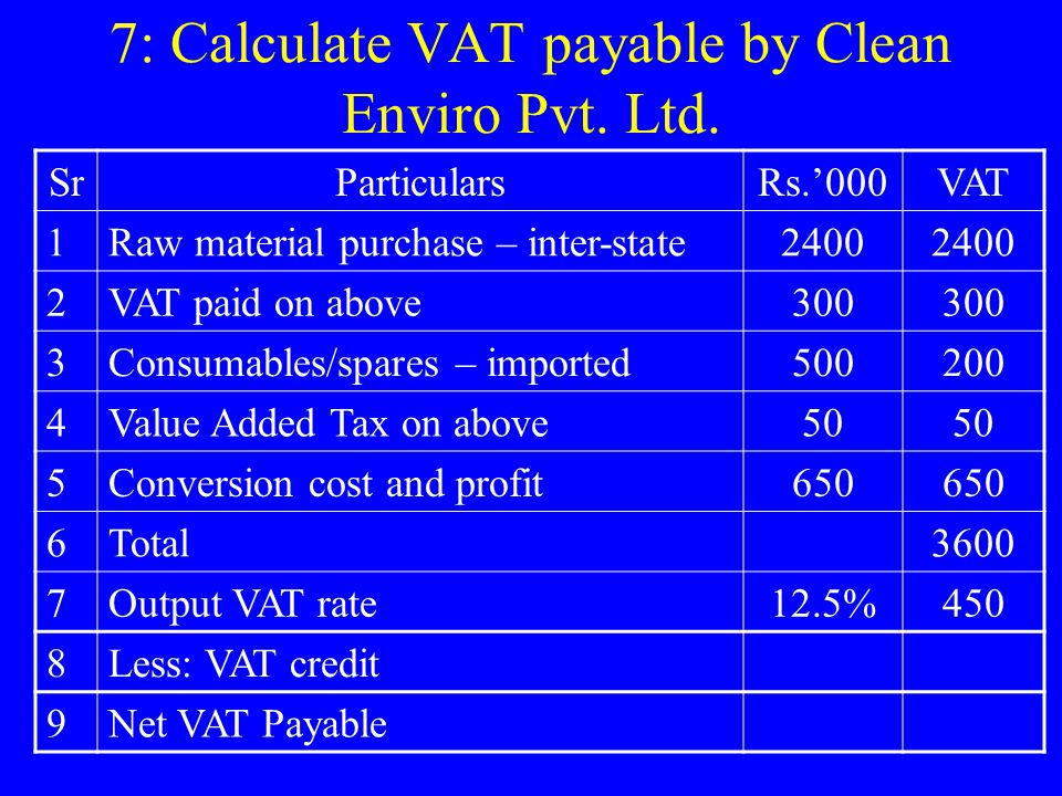 7: Calculate VAT payable by Clean Enviro Pvt. Ltd.