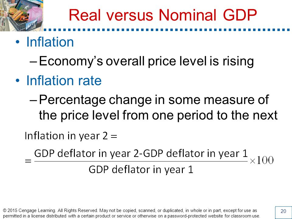 Real versus Nominal GDP Inflation –Economys overall price level is rising Inflation rate –Percentage change in some measure of the price level from on