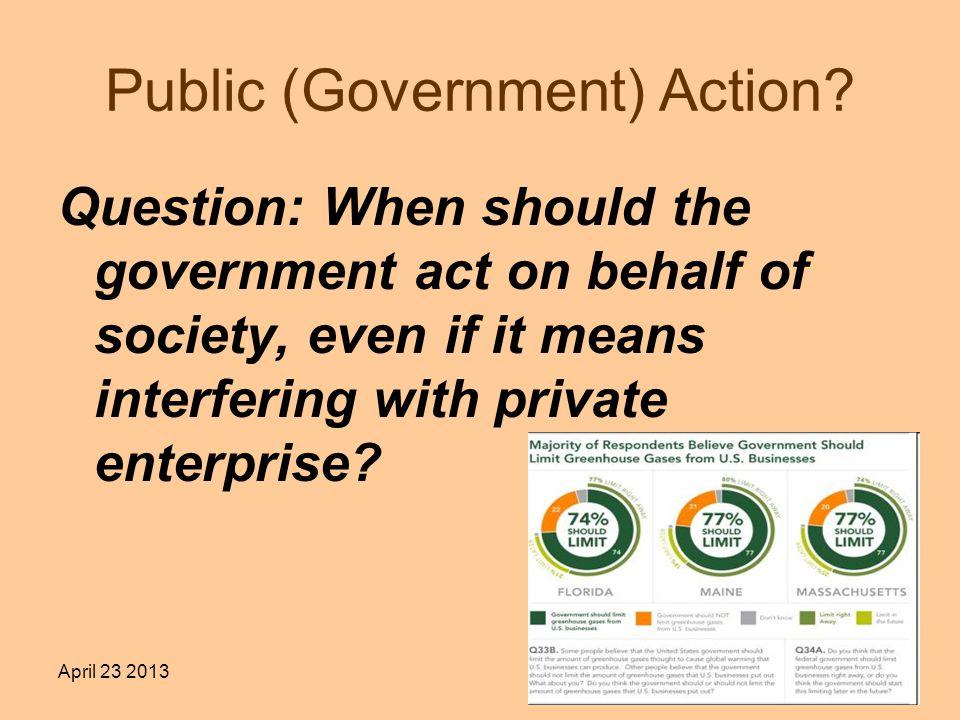 April 23 20132 Public (Government) Action.
