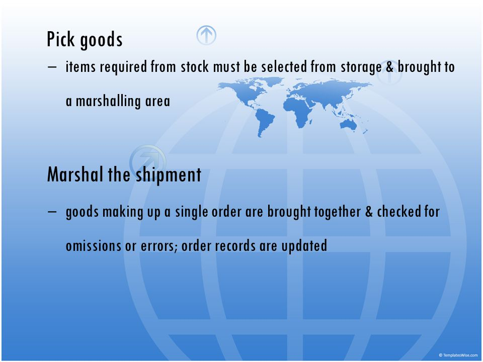 Pick goods items required from stock must be selected from storage & brought to a marshalling area Marshal the shipment goods making up a single order