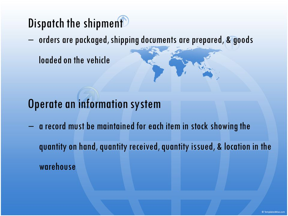 Dispatch the shipment orders are packaged, shipping documents are prepared, & goods loaded on the vehicle Operate an information system a record must