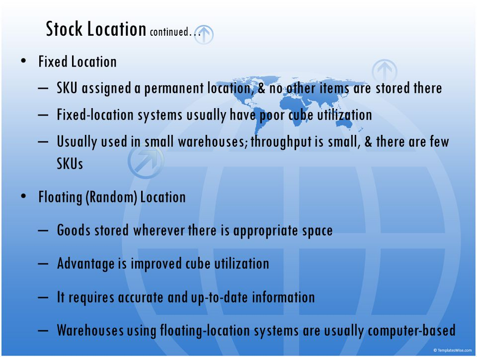 Fixed Location – SKU assigned a permanent location, & no other items are stored there – Fixed-location systems usually have poor cube utilization – Us