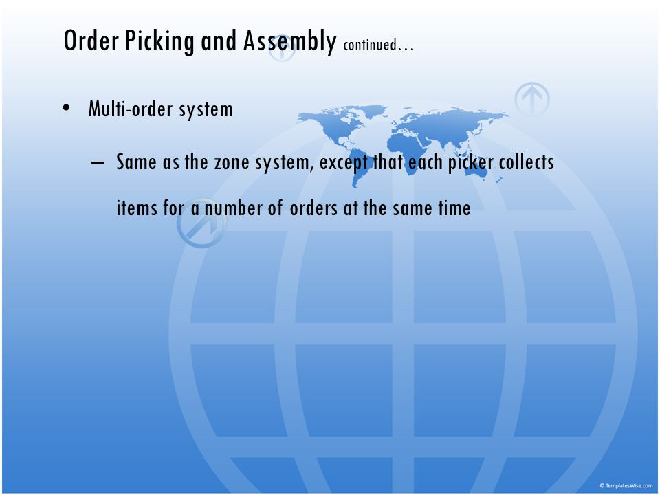 Multi-order system –Same as the zone system, except that each picker collects items for a number of orders at the same time Order Picking and Assembly